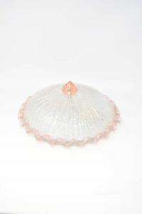 Plafoniera In Vetro Bianco E Rosa 32 Cm Diametro