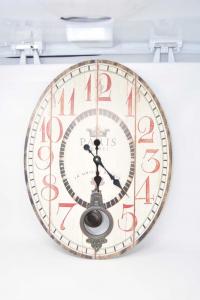 Orologio Da Parete In Legno Stampato Mod. Vintage Con Pendolo 43x58 Cm