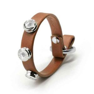 Bracciale in pelle light brown basic finitura argento con brillanti