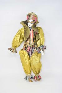 Bambola Clawn In Ceramica Vestito Oro 44 Cm