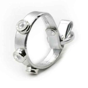 Bracciale in pelle argento laminato finitura argento con brillanti