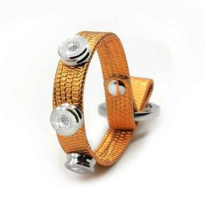 Bracciale in pelle orange lizzy finitura argento con brillanti