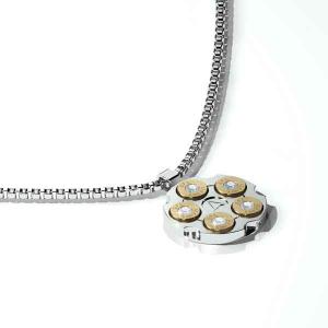 Collana in acciaio con pendente oro, brillanti centrali e catena a maglie