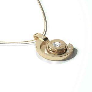 Collana in acciaio con pendente oro, gemma centrale e catenina argento