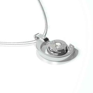 Collana in acciaio con pendente argento, gemma centrale e catenina in argento