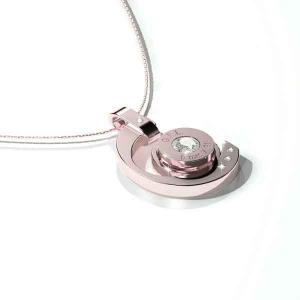Collana in acciaio con pendente oro rosa, gemma centrale  e catenina in argento