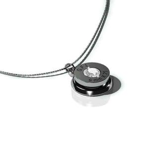 Collana con pendente finitura rodio nero, gemma PRECIOSA neutra e catenina in argento