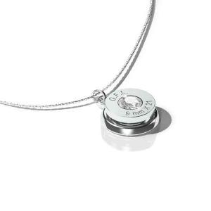 Collana con pendente finitura argento, gemma PRECIOSA neutra e catenina in argento