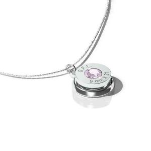 Collana con pendente finitura rodio nero, gemma PRECIOSA rosa e catenina in argento