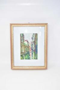 Quadro Dipinto Canale Di Venezia 30 X 37 Cm