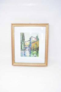 Quadro Dipinto Canale Di Venezia 32 X 37 Cm