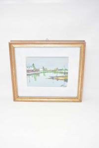 Quadro Dipinto Laguna Di Venezia 32 X 37 Cm