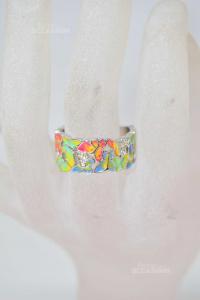Anello Donna Nuovo 925 Con Farfalle Colorate 2 Cm Diametro