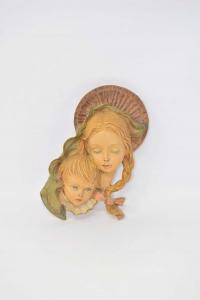 Icona Da Appendere In Pasta, Madonna Con Bambino 22x12 Cm