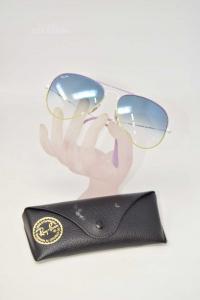 Sunglasses Rayban Lens Blue Sfumata Mount White And Lilac Rb Aviator Large