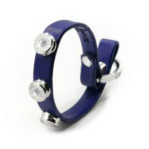 Bracciale in pelle blu basic finitura argento con brillanti