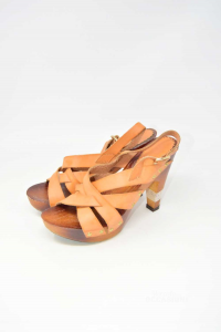 Shoes Col Heel Woman Gold&gold Wood N° 39