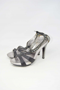 Shoes Col Heel Woman Coffee Noir Black With Jewels N° 40