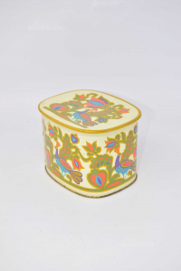 Tin Box With Fantasy Peacock 12x8.5 Cm