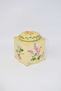 Box Tin Holder Candy Style Vintage With Stmpa Flowers 12x9.5 Cm