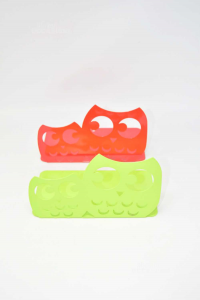 Pair Holder Books In Metal Shaped Of Owl Red / Green