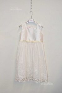 Dress Baby Girl Cerimonia Brums White With Decors Floral 10 Years