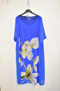 Dress Woman Caterina Lancini Size.52 Blue With Flowers Size.forti