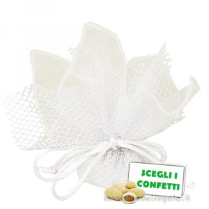 Portaconfetti Ariel Bianco velo e rete con tirante 30 cm - Veli bomboniere
