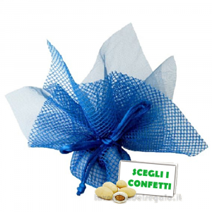 Portaconfetti Altea Blu velo e rete con tirante 25 cm - Veli bomboniere