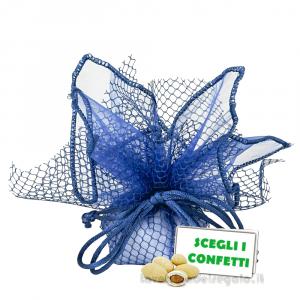 Portaconfetti Ariel Blu velo e rete con tirante 30 cm - Veli bomboniere