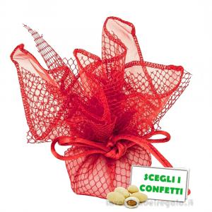 Portaconfetti Ariel Rosso velo e rete con tirante 30 cm - Veli bomboniere