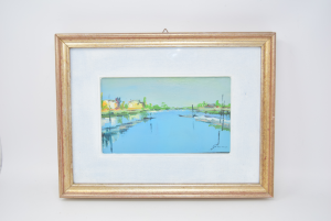 Quadro Dipinto Laguna Di Venezia 30 X 39 Cm