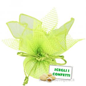 Portaconfetti Ariel Verde velo e rete con tirante 30 cm - Veli bomboniere
