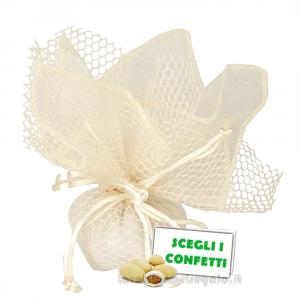 Portaconfetti Ariel Crema velo e rete con tirante 30 cm - Veli bomboniere