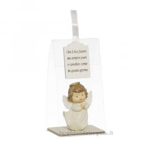 Angelo in resina con scritta in scatola in pvc 5.5x4x10.5 cm - Bomboniera comunione