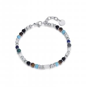 Luca Barra - Bracciale in acciaio con pietre multicolor