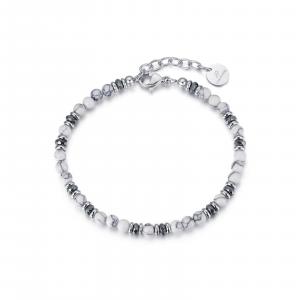 Luca Barra - Bracciale in acciaio con pietre bianche ed amatite