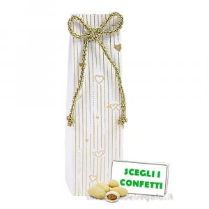 Portaconfetti tubo Bianco e Oro 3.5x3.5x13 cm - Scatole nozze oro