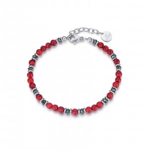 Luca Barra - Bracciale in acciaio con pietre rosse ed amatite