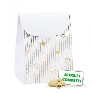 Portaconfetti bustina Bianco e Oro 6x3.5x8 cm - Scatole nozze oro