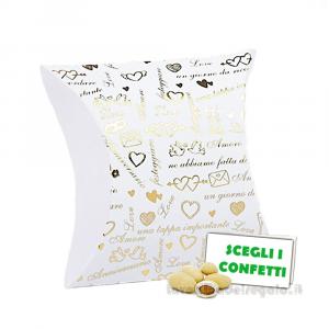Portaconfetti bustina Bianco e Oro 5x2.5x5 cm - Scatole nozze oro