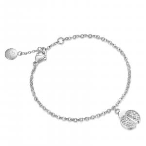 Luca Barra - Bracciale in acciaio con coccinella e cristalli bianchi