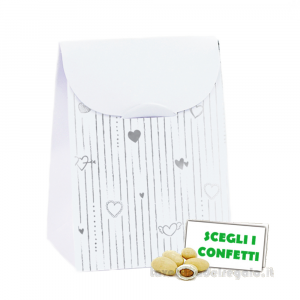 Portaconfetti bustina Bianco e Argento 6x3.5x8 cm - Scatole nozze argento