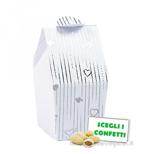 Portaconfetti bustina Bianco e Argento 3.3x3.3x7.5 cm - Scatole nozze argento