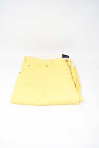Pantaloni Uomo Brooksfield Tg 52 Gialli Misto Cotone Lino