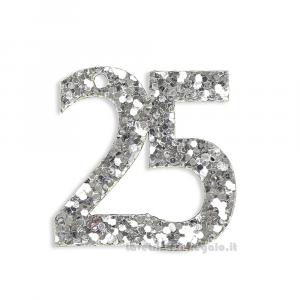 Applicazione Numero 25 Argento con paillettes 3x3 cm - Decorazioni nozze d'argento