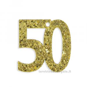 Applicazione Numero 50 Dorato con paillettes 3x3 cm - Decorazioni nozze d'oro
