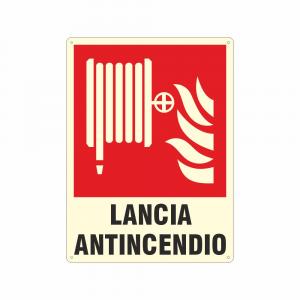 Cartello luminescente lancia antincendio UNI EN ISO 7010
