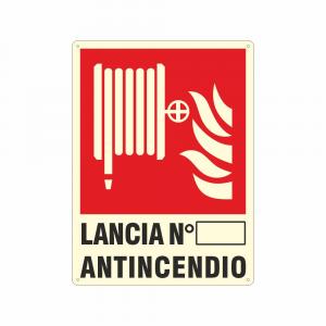 Cartello luminescente lancia antincendio numero UNI EN ISO 7010