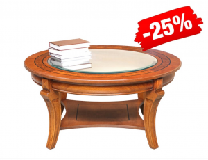 PROMO! Rounded coffee table with glass top